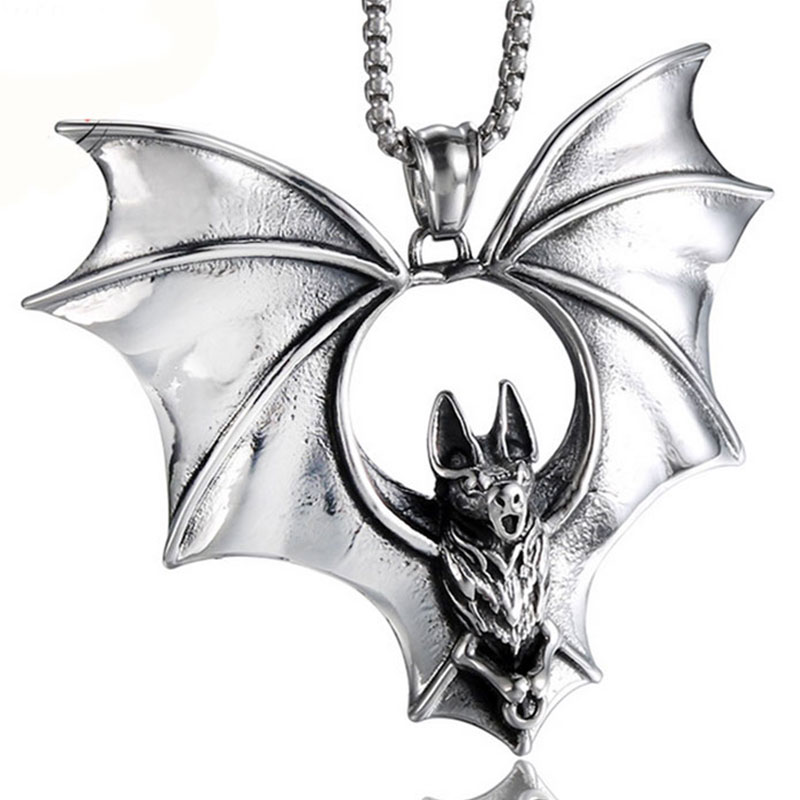 Vampire Bat Men Necklace & Pendant Punk 316L Stainless Steel Necklace Jewellery Gifts X026