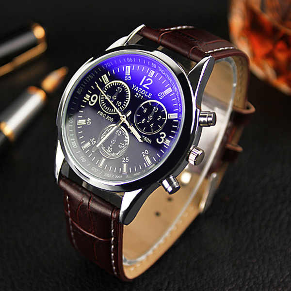 YAZOLE Men นาฬิกาแฟชั่นนาฬิกา luminous PU หนัง casual คลาสสิกนาฬิกาข้อมือควอตซ์กันน้ำ Relogio Masculino