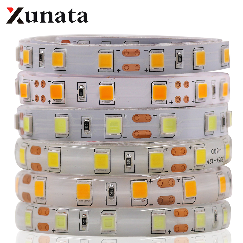 5m/lot DC12V SMD 2835 5050 Led Strip Tape Light 60leds/M Waterproof White/Warm White Super Bright 5054 Flexible Led Strip
