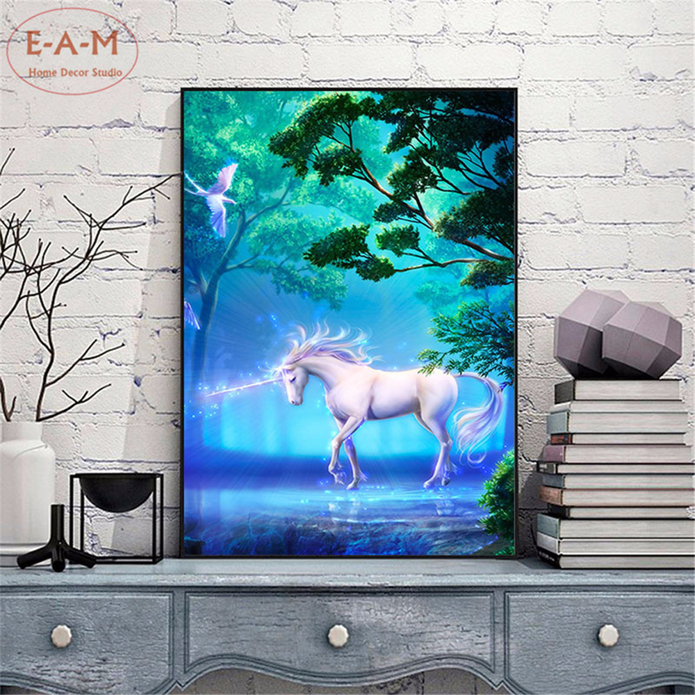 Unicorn Dream Forest Cotton Canvas Art Print Painting Poster Wall Pictures Home Decoration Decor No Frame -C