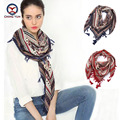 2016 hot sale fashion woman 110*110cm Scarf cotton and linen square scarves short tassel geometric Women Winter lady shawls