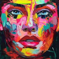 Hand Painted Cool Woman Wall Art Canvas Painting Abstract Artwork Face Colorful Knife Painting for Office Bathroom Wall Decor