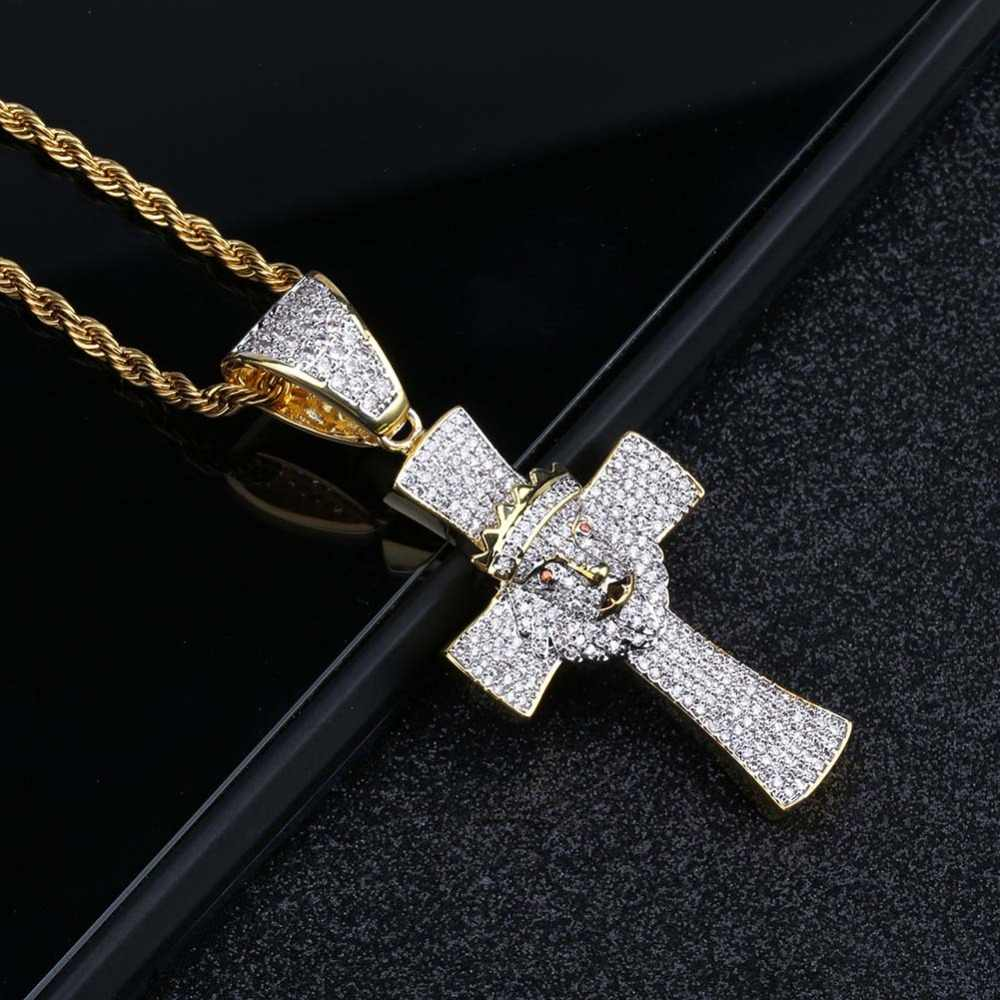 TOPGRILLZ Shiny Lion Head Cross Pendant Necklace Gold Color Iced Out Cubic Zircon Men Hip Hop Jewelry Gifts 4MM Tennis Chain