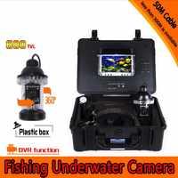 Głębokości 50 metrów podwodny aparat wędkarski zestaw z 360 obrotowy aparat i 7 Cal Monitor z DVR wbudowana i twardy tworzyw sztucznych przypadku