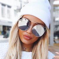 Oversized Rose Gold Popular Mirror Sunglasses Cat Eye Brand Designer 2017 New Women Metal Frame Cateye