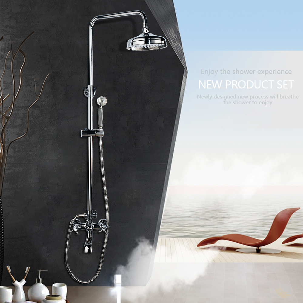 Bathroom Luxury Shower Set Chrome Finished Wall Mounted Shower Set With 8' Rainfall Shower Head And A Hand Shower Mixer Taps все цены