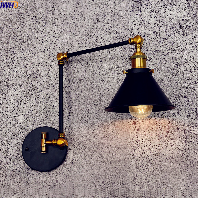 IWHD Antique Vintage LED Wall Lamp Black Retro Adjustable Swing Long Arm Wall Light Stair Edison