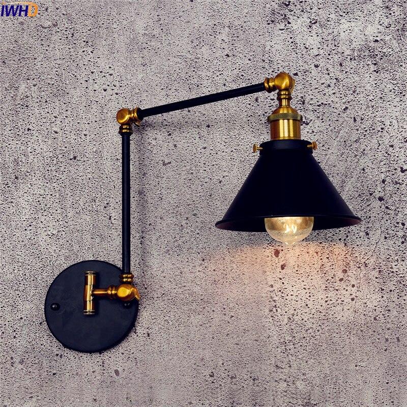 IWHD Antico Vintage Lampada Da Parete A LED Nero Retro Regolabile Swing Lungo Braccio lampada da Parete Luce Scale Edison Applique In Stile Loft Industriale