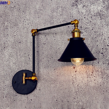 IWHD Antique Vintage LED Wall Lamp Black Retro Adjustable Swing Long Arm Wall Light Stair Edison Sconce Industrial Loft Style iwhd adjustable arm led wall light vintage industrial lighting wall lamp style loft retro iron sconce luminaire on the wall