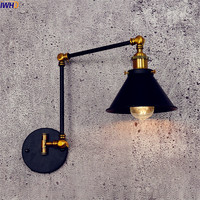 IWHD Antique Vintage LED Wall Lamp Black Retro Adjustable Swing Long Arm Wall Light Stair Edison Sconce Industrial Loft Style