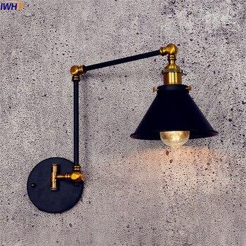 Iwhd Antieke Vintage Led Wandlamp Zwart Retro Verstelbare Swing Lange Arm Wandlamp Trap Edison Blaker Industriële Loft Stijl