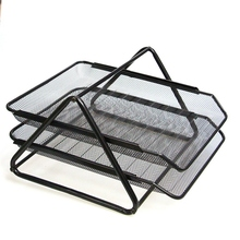 Office Filing Trays Holder A4 Document Letter Paper Wire Mesh Storage 2 Tiers