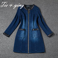 Китай одежда фабрики женщин буле Ковбой пальто 2016 весной новый приход Eureopan моды взлетно-посадочной полосы леди Джинсовой пальто женщина