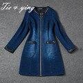 China fábricas de vestuário mulheres Eureopan bule Cowboy casaco 2016 nova primavera chegada desfile de moda senhora Denim casaco feminino