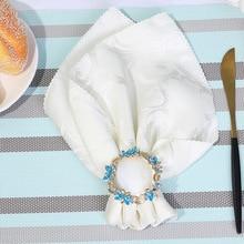 50PCS creative metal napkin ring flower imitation jade napkin ring cocktail jewelry home furnishings все цены