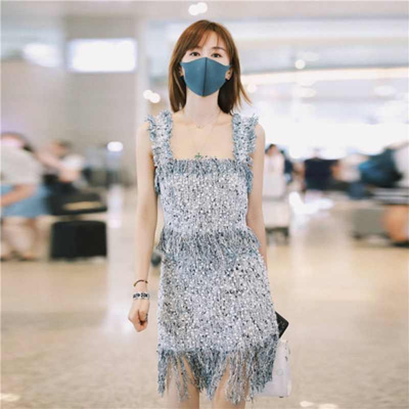 2019 ブランドのデザイナー夏新女性のファッションの気質タッセル通気性毛深いツーピースドレス