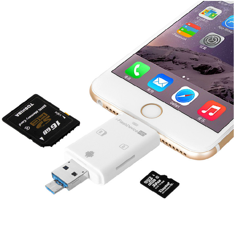 3in1 i Flash Device USB OTG Micro SD SDHC TF Card Reader for iPhone 5 5s