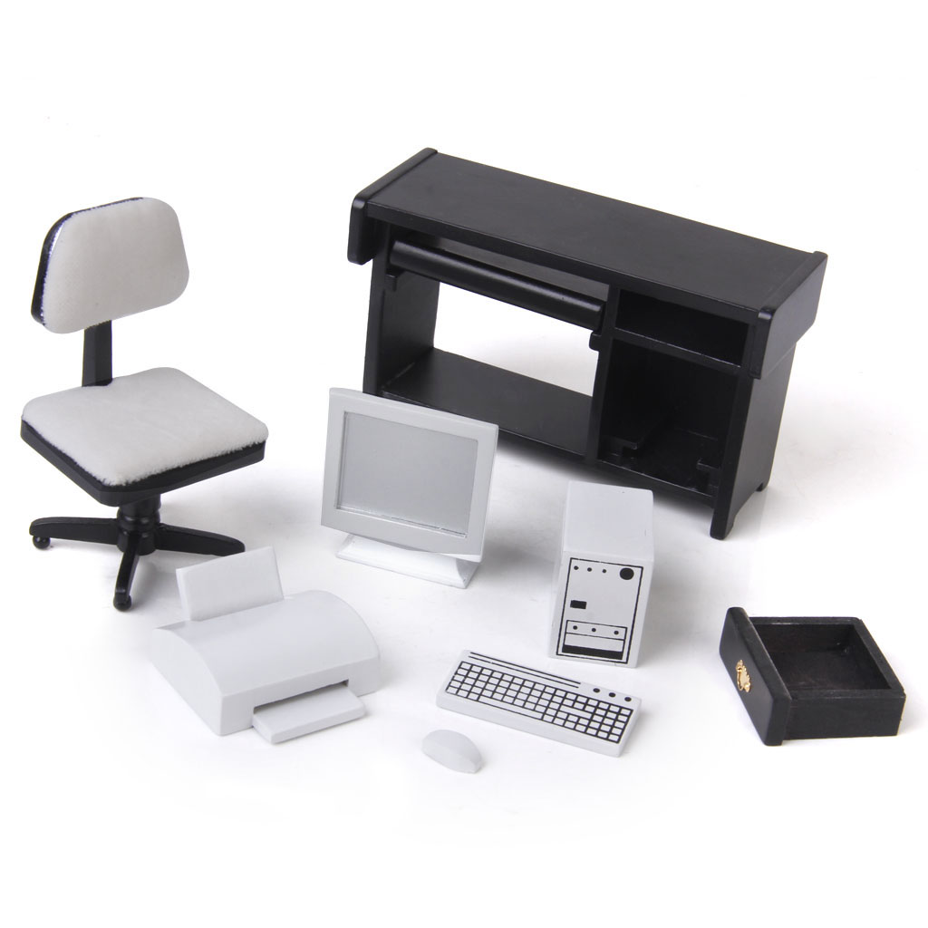 New Arrivals Wood 1/12 Dollhouse Miniature Furniture Computer Desk Chair Printer Set 1:12 Classic Toys Dollhouse Decor Kids Gift new iron art miniature mini flower stand chair kids toys furniture white 90 74mm for 1 12 dollhouses model accessories wwp5566