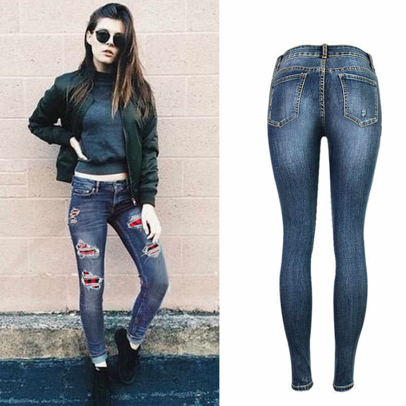 73702e44c ... Patchwork elasticidad Skinny Jeans de moda de las mujeres Pantalones  párr Mujer pintado bigote efecto Vintage ...