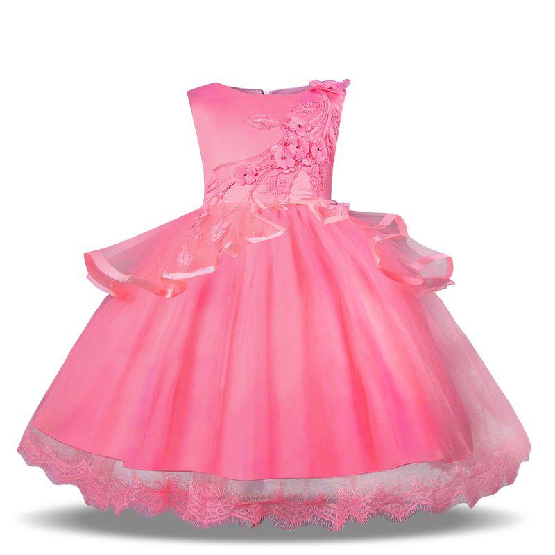 Girls Party Dress Kids Dresses For Clothing Flower Elegant Wedding Baby Pink