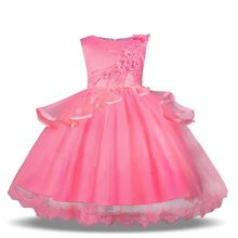 Girls Party Dress Kids Dresses For Clothing Flower Elegant Wedding Baby Pink