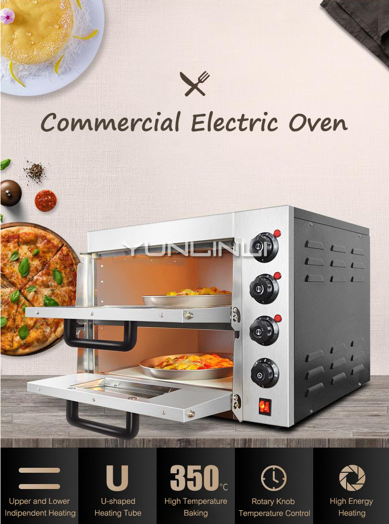 Double couche électrique grande Pizza cuisson four Commercial multifonction rôtissoire gâteau poulet gril faisant la Machine WL002 - 2