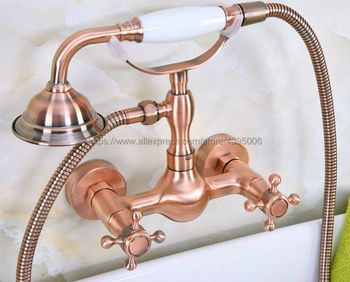Antique Red Copper Wall Mounted Bathroom Faucet With Hand Held Shower Head Bathroom Shower Faucet Set Mixer Tap Bna335