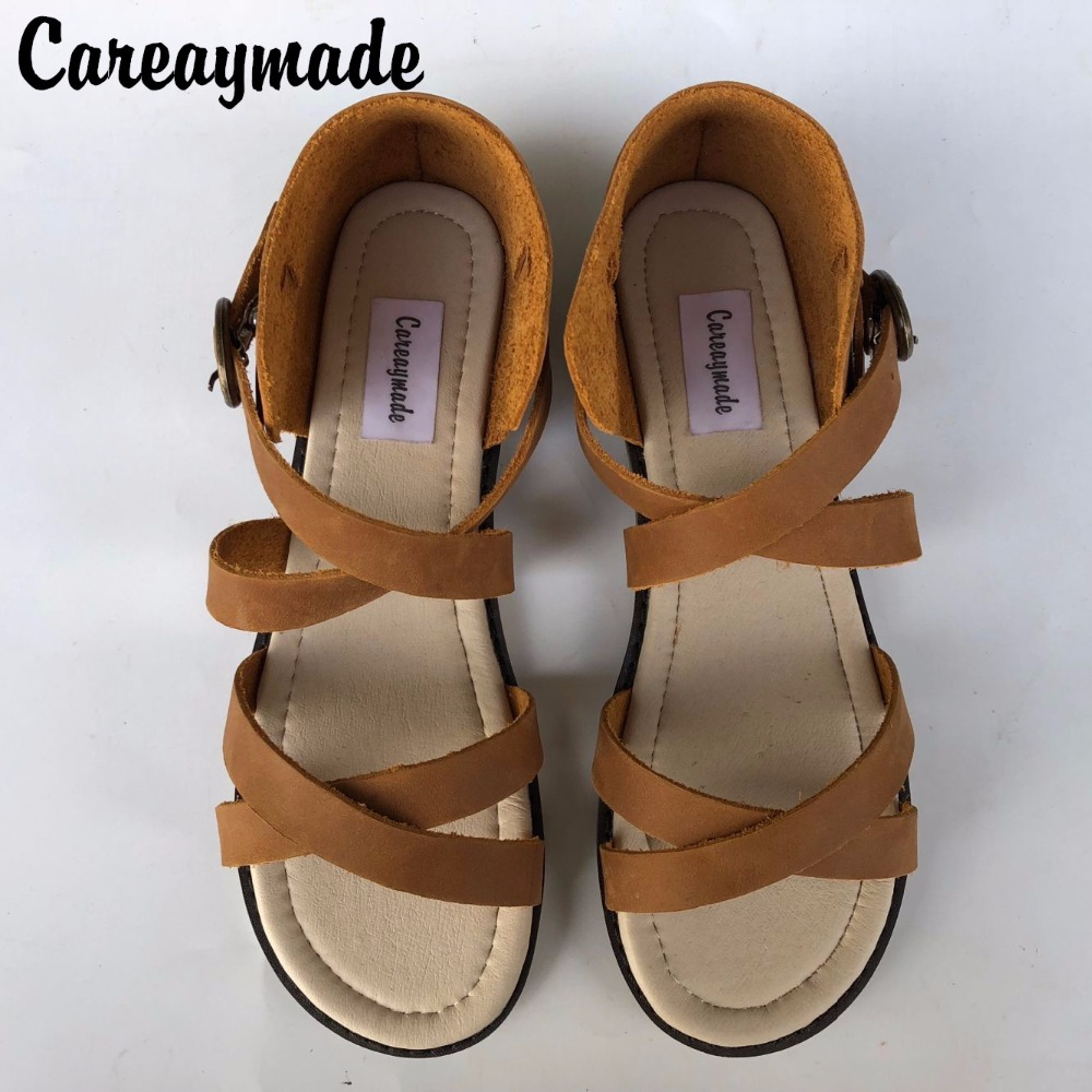 New 2016 head layer cowhide pure handmade student style,the retro art mori girl shoes shallow soft bottom sandals,2 colors