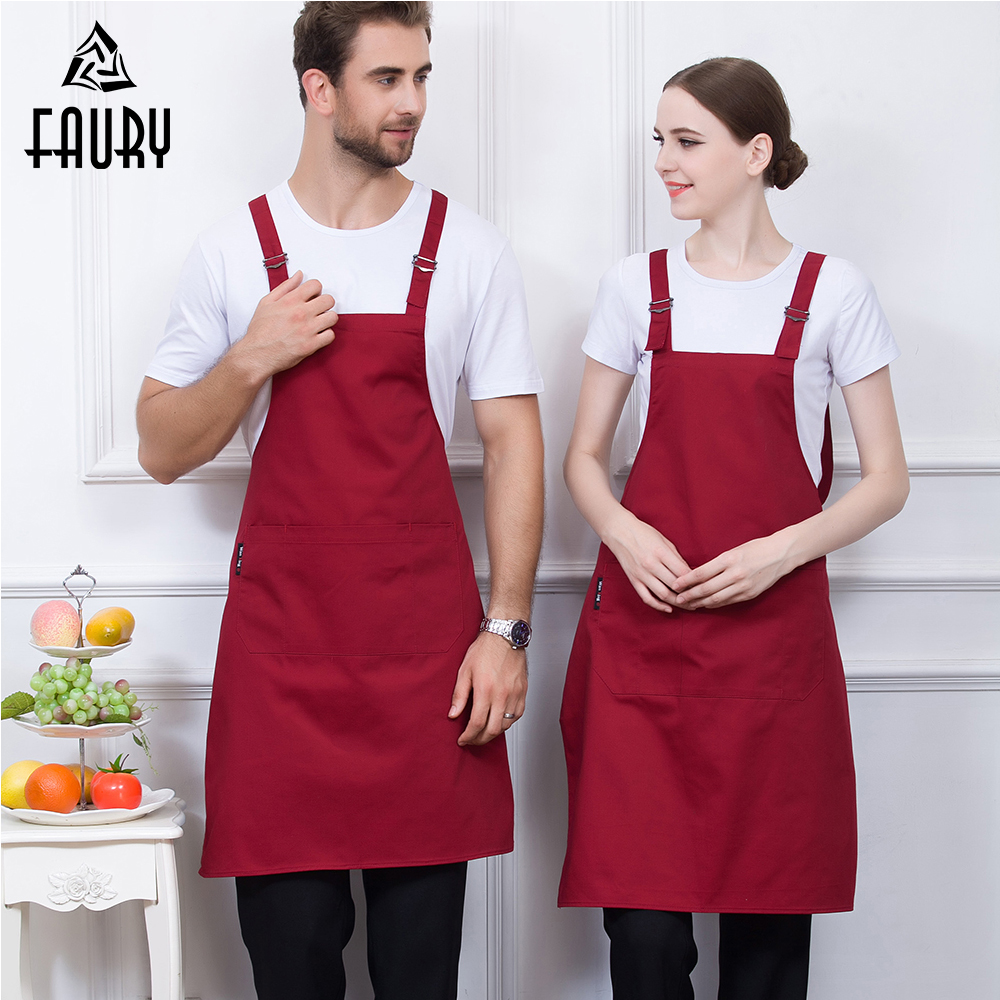 Unisex Wholesale Food Service Kitchen Work Restaurant Home Cooking Cleaning Wear Aprons Chef Waiter Hotel Coffee Shop Uniforms