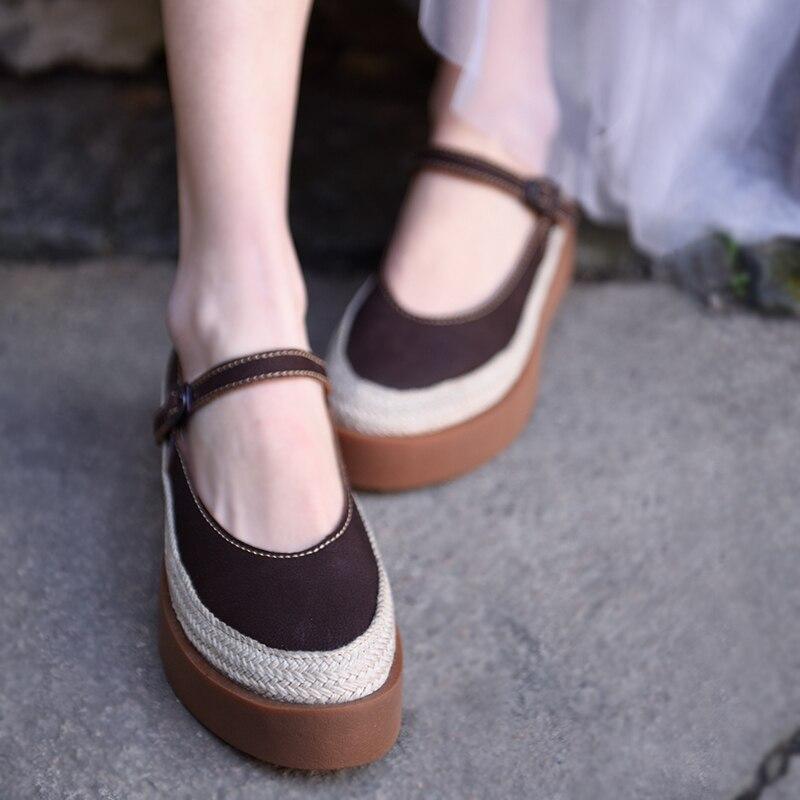 Artmu Original Rindsleder Flach Mund Frauen Schuhe Plattform Buckled Dicken Sohlen Handmade Retro Schuhe Aus Echtem Leder Pumpen 1626-in Damenpumps aus Schuhe bei  Gruppe 3