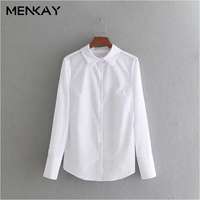 MENKAY European And American Style 2018 Spring New Fashion Wild Lapel Long Sleeve Was Thin