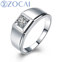 ZOCAI 0 2 CT CERTIFIED I J SI DIAMOND MEN S ENGAGEMENT BAND RING ROUND CUT