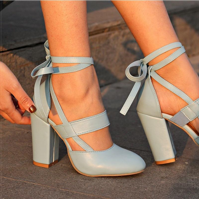 """נשים נוחות משאבות מותג נעלי נשים עקבים עבים רצועת קרסול עקבים גבוהים נשים נעלי חתונה סנדלים עם עקבים גבוהים גלדיאטור 8.5 ס""""מ"""