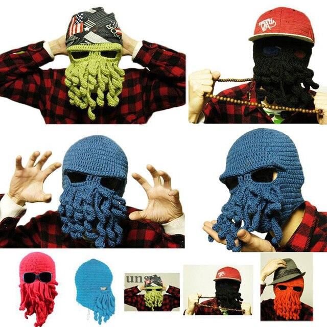 bd3a74a9cfc Fashion Winter Warm Unisex Women Men Winter Warm Knit Crochet Beard Beanie  Mustache Face Mask Squid