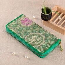 Молнии натуральная кожа и натурального шелка Вышивка сцепления Монета телефон сумка Длинный кошелек бумажник визитница YJSN103-3
