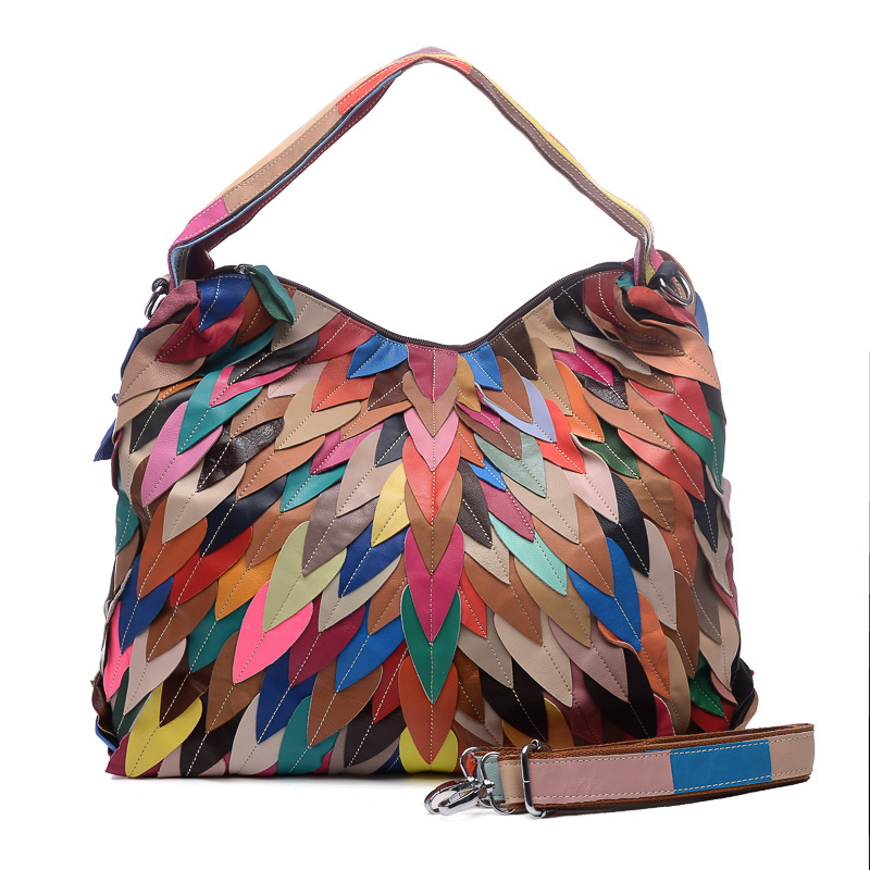 New Real Sheep Leather Stripe woman shoulder bags Large Capacity top-handle bags women Casual Patchwork joker shoulder bag women стоимость