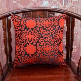 Винтаж жаккардовая подушка для кресла, дивана крышка шелковая подушка чехол площадь в этническом стиле декоративные подушки атласные рождественские наволочка 45x45 - Цвет: Черный