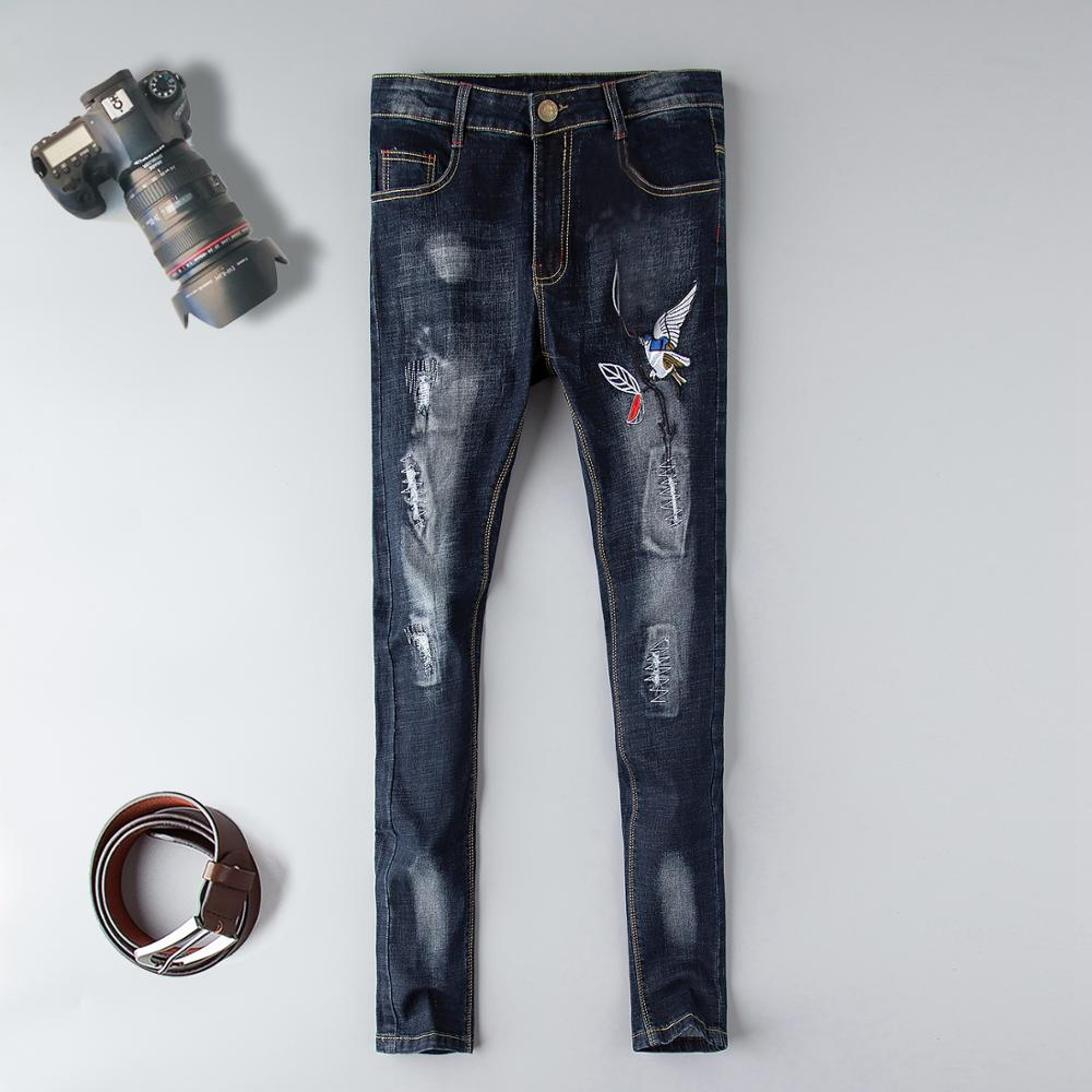 New brand skinny jeans Mens Distressed Hollow Out Pants Oiled Old School Washed ripped Blue Denim Skinny blue destroyed