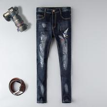 купить New brand skinny jeans Men's Distressed Hollow Out Pants Oiled Old School Washed ripped jeans Blue Denim Skinny blue destroyed дешево