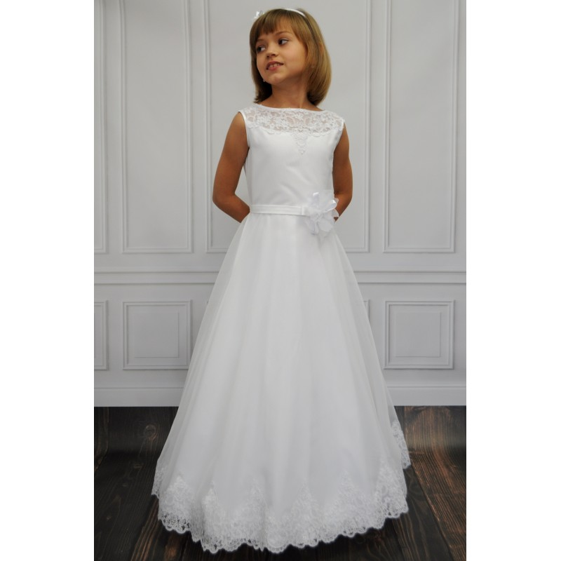 2018 Gorgeous White Lace Sheer First Communion   Dresses   for   Girls   Tulle and Satin Scoop   Flower     Girl     Dresses   for Weddings