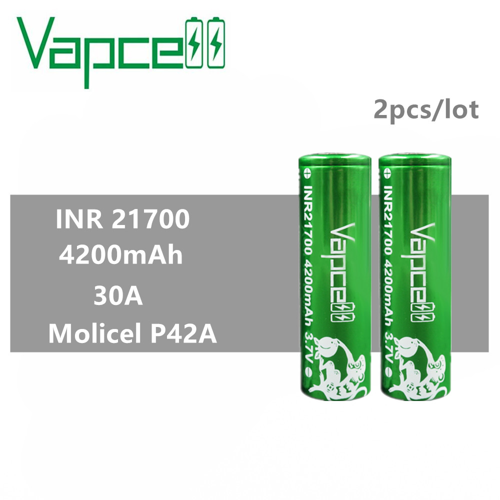 2pcs Vapcell INR 21700 battery 4200mah 30A rewrap molicel P42A battery rechargeable battery for Electronic Cigarette vape mod