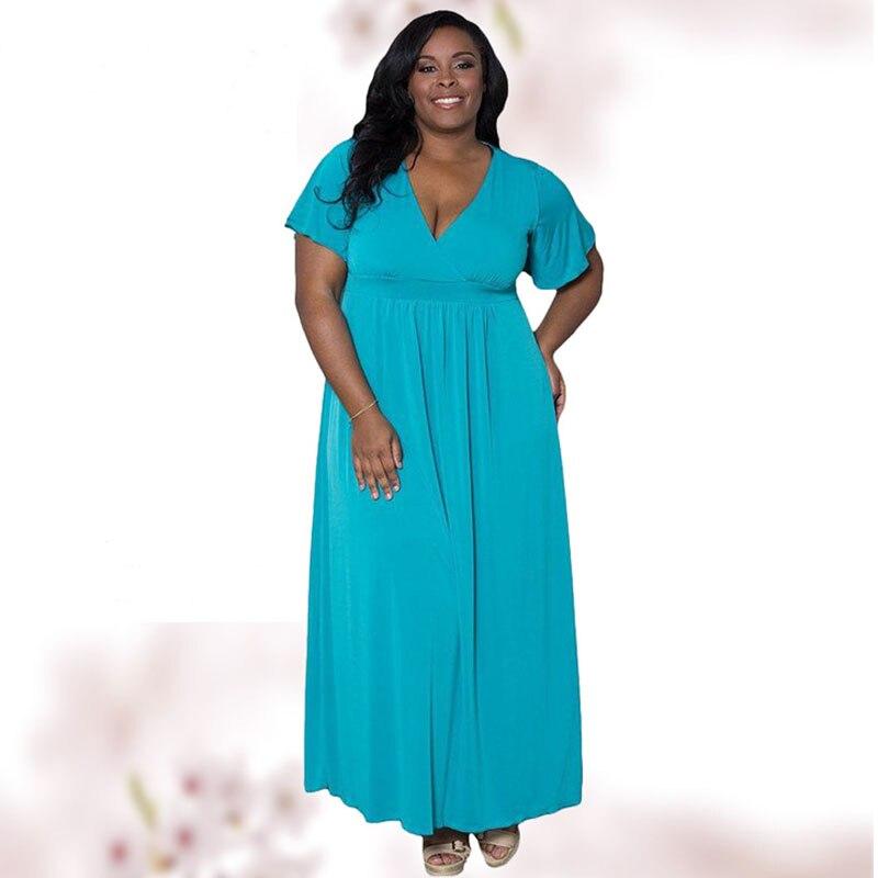 6XL grande taille Sexy col en v à manches courtes Maxi robe pour les femmes d'été longues robes bleu dames grande taille XXXL 4XL 5XL 6XL robe