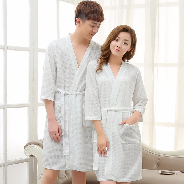 569d7c17b9 Lovers Towel Elegant Robe Men Women Kimono Waffle BathRobe Male Sleepwear  Mens Dressing Gown Badjas Wedding