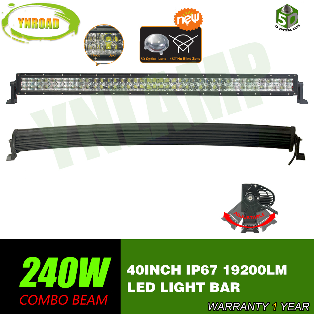 YNROAD 5D 240W 40inch Curved LED Work Light Bar Combo Beam 5D optical lens SUV ATV 4x4 Truck 4WD Offroad Light Bar 19200LM in Light Bar Work Light from Automobiles Motorcycles