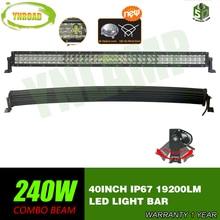 5D 240W 40inch Curved LED Work Light Bar Combo Beam  5D optical lens SUV ATV 4x4  Truck 4WD Offroad Light Bar 19200LM стоимость