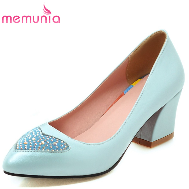 MEMUNIA 2017 new arrive women pumps fashion shallow pointed toe high heels single shoes  spring autumn ladies shoes lin king fashion pearl pointed toe women flats shoes new arrive flock casual ladies shoes comfortable shallow mouth single shoes
