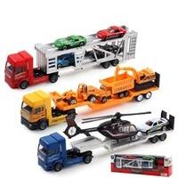 6651 kinderen Educatief Speelgoed Groothandel Legering Model Auto Speelgoed Auto Trailer met Vliegtuig