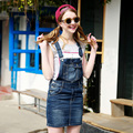 2017 Summer Women Denim Skirt Overalls Ladies Loose Pocket Blue Jean Skirt Girls Casual Skirts Slim Skirt For Female 8923