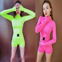 new sexy night bar DS performance long sleeve DJ nightclub female singer GOGO fluorescent party collar leotard Dance Costume