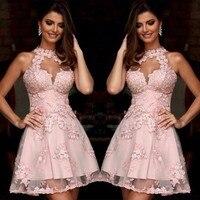 Элегантные завязываемое петлей платье с аппликацией кружевные платья для возвращения домой 2019 Розовый Короткие платье для выпускного вече